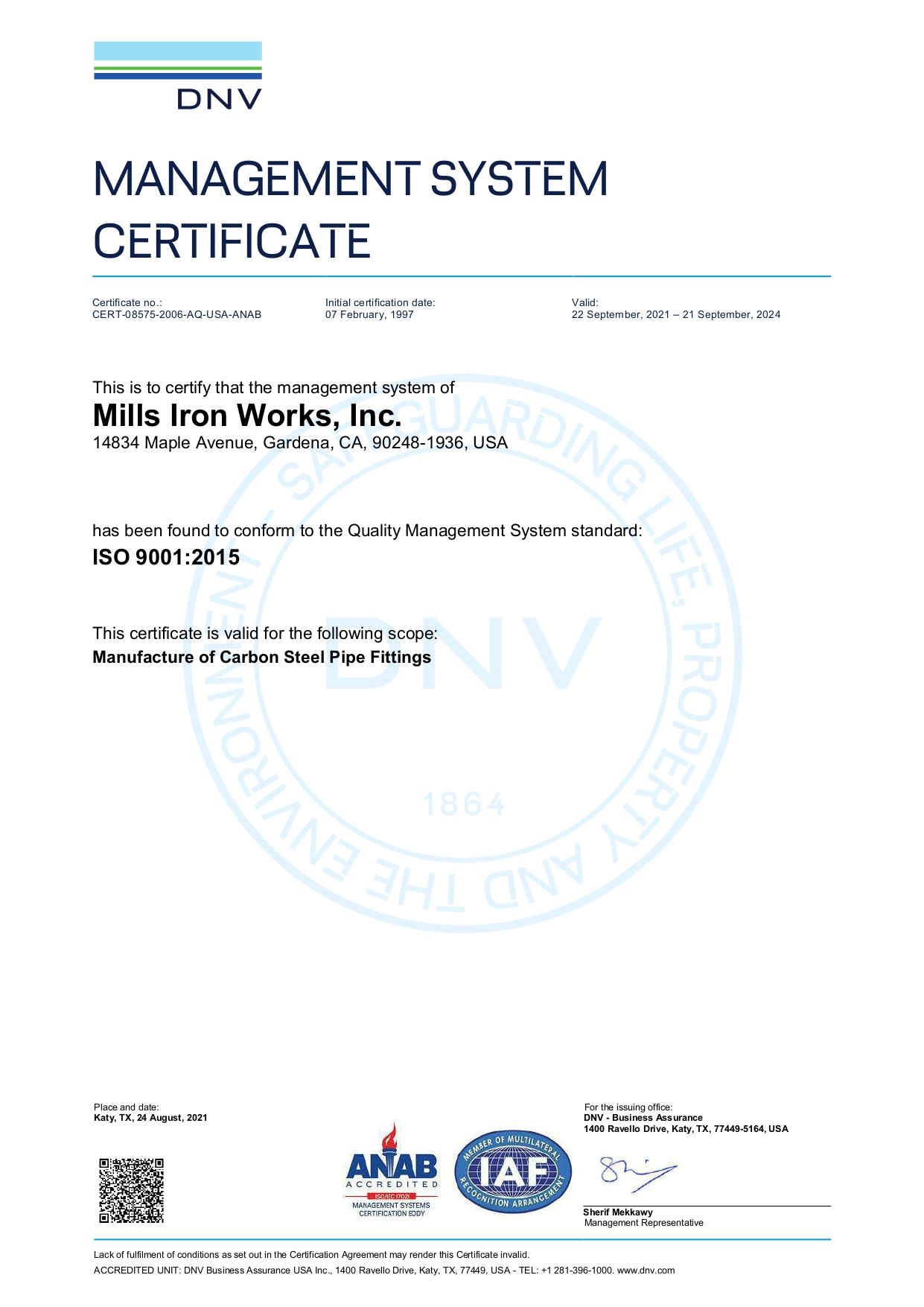 ISO 9001-2000 DNV Certificate